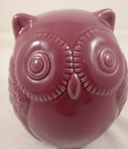 "Ceramic Owl Coin Bank Purple Room Decoration Figurine Statue Money 4"" - $19.79"