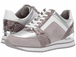 Michael Kors MK Women's Billie Trainer Suede Sneakers Shoes Pearl Grey