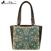 Montana West Embroidered Boot Scroll Applique PU Leather & Canvas Tote Handbag - $62.99
