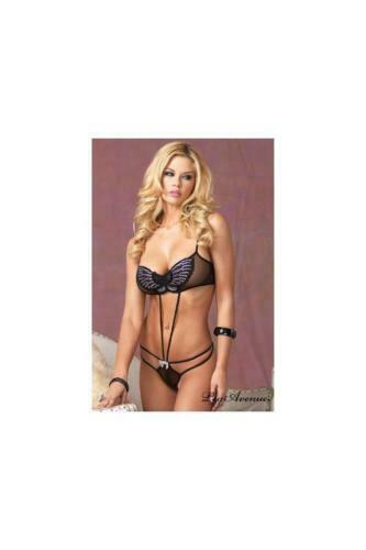 New Leg Avenue Women's Butterfly Sequin Strappy G-String Teddy Black 81345