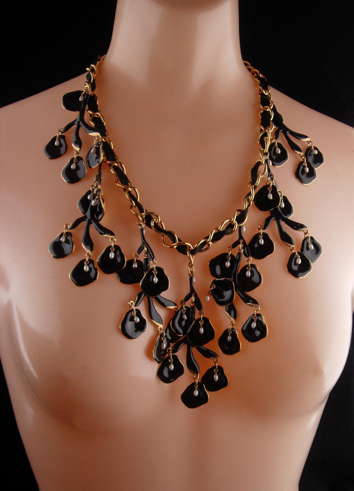 HUGE statement necklace / Black enamel / Genuine pearl drops / chandelier bib  w
