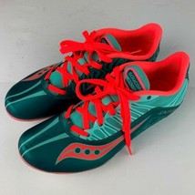 Saucony Spitfire 3 Track Running Shoes Women sz 10 green Teal Coral - $49.99