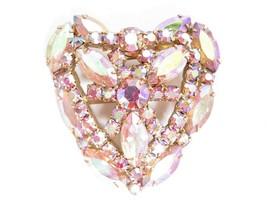 Vintage Large High End Pale Pink Aurora Borealis Rhinestone HEART Brooch... - $57.37
