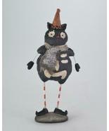 "Black Skeleton Cat Figurine Standing with Orange Hat 7"" Tall Halloween D... - $14.80"