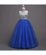 Flared Tulle Lace Royal Blue Color Full Length Party Gown for Girls - $48.99+