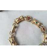 Vintage Sarah Coventry Signed Bracelet Gold Tone Matching Pink Enamel Br... - $48.35