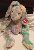 """Ty Classic TWITCHER Pastel Tie Dye Easter Bunny Rabbit 16"""" Plush 2001 w/... - $15.83"""