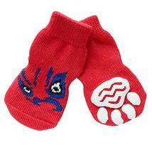 PANDA SUPERSTORE 4 Pcs Cute Puppy Cat Socks Knitted Pet Socks Dog Paw Protection