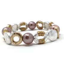 Hammered Gold & Silver Pearl Stretch Bracelet For Women Statement Boho Jewelry - $20.64