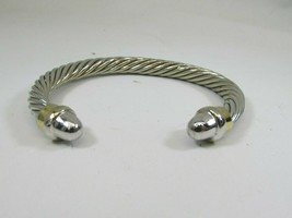 Vintage Silvertone Twisted Rope Design Cuff Bracelet Cable 48373 - $11.87