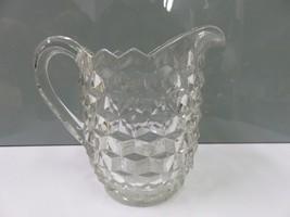 "Cube Cubist Block Pattern Depression Glass Clear Jug Pitcher 8""  - $22.15"