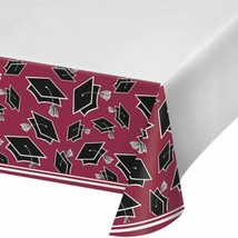 Burgundy Black 54 x 102 Border Print Tablecover Graduation School Spirit - $7.99