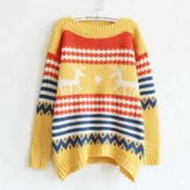 Cute Printed Deer Striped Sweater - $22.53