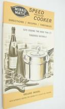 Mirro Matic Speed Pressure Cooker Manual Recipe Book 1972 Directions Tim... - $9.89