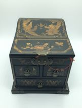 Vintage Wooden Chinese Asian Jewelry Box Chest w/ Mirror Apothecary image 7