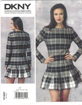 Vogue 1461 DKNY Donna Karan Pleated Skater Dress Pattern Choose Size Uncut - $14.54