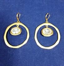 Kenneth Jay Lane Large Gold Tone Vintage Hoop Earrings Faceted Crystal Dangle - $209.99