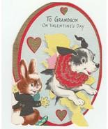 Vintage Valentine Card Jack Russell Terrier Dog Jumps Through Hoop Bunny... - $8.90