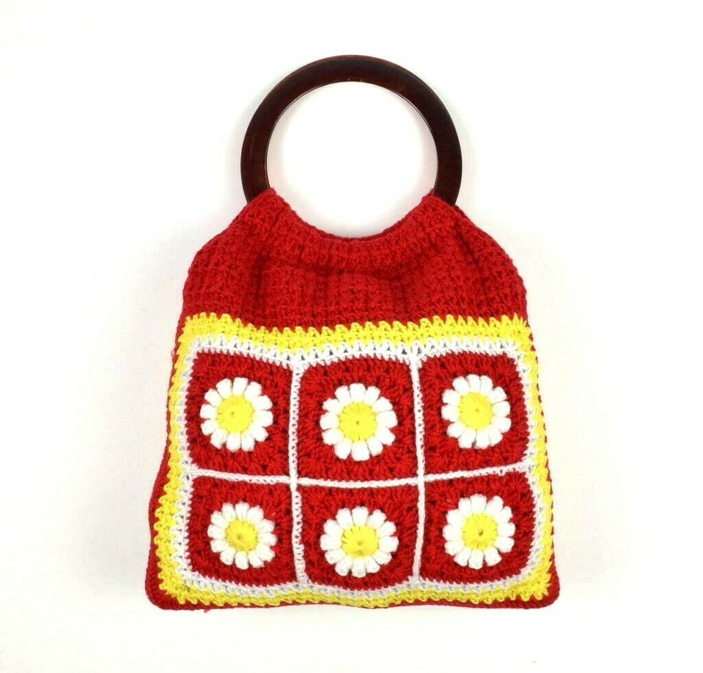 Primary image for Vintage 60s Floral Knit Hand Bag Satchel Purse Sack Red Boho Retro Crochet Daisy