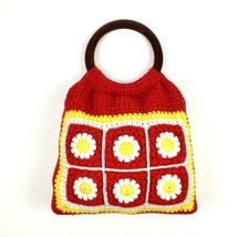 Vintage 60s Floral Knit Hand Bag Satchel Purse Sack Red Boho Retro Croch... - $34.64