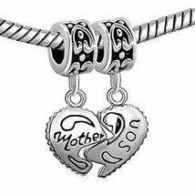 ? 925 Sterling Silver Heart Mother Son Charm Beads Pandora Bracelet Mom Love ? image 2