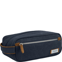 NEW TRAVELON HERITAGE CANVAS & LEATHER TOP ZIP TOILETRY TRAVEL SHAVE KIT... - $24.70
