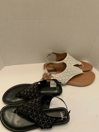 New Time and Tru Women's Black or White hooded jewel thong studded bling Sandals