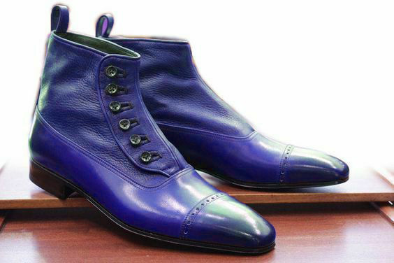 Handmade Men's Blue Two Tone High Ankle Buttons Dress/Formal Leather Boots