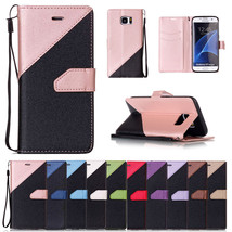 NEW Wallet Matte Leather Color Stitching Case Hand Rope for Samsung Gala... - $7.99