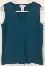 Worthington Sleeveless Top Tank Shell Blue Green Career Rayon V Neck Siz... - $9.85