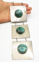 925 Silver - Vintage Large Cabochon Malachite Square Linked Pendant - P6721 - $365.54