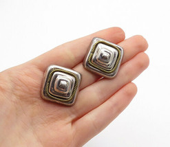 MEXICO 925 Silver - Vintage Two Tone Twist Square Dome Drop Earrings - E... - $56.20