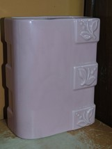 """Art Pottery 7""""+ Vase Mid Century pink rectangular floral american unmarked - $24.99"""