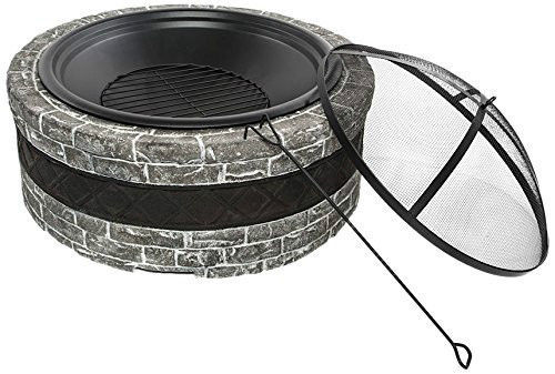 Sun Joe Wood Firepit Fire Joe Faux Stone 35-Inch Patio Deck Fire Pit Charcoal