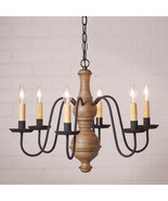 """CHESTERFIELD"" CHANDELIER - 6 Arm Wood & Metal Light in Textured Pearwoo... - $356.35"