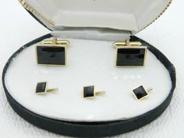 VTG SWANK Signed Gold Tone Faceted Black Glass Cufflinks Stud Set in Box - $49.50