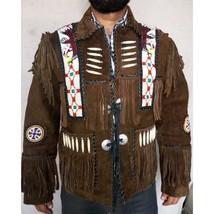 Handmade Brown Native Western Suede Jacket Coat, Fringe Beads Bones jack... - $210.00
