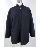 GEIGER COLLECTIONS Womens Jacket Coat 100% Wool Zip Up Long Charcoal Gra... - $49.49