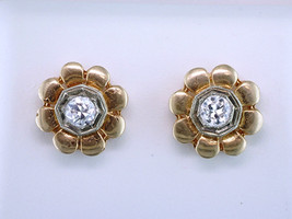 Antique Deco .35ct Diamond 14K Yellow Gold Art Deco Screw Back Earrings - $678.15