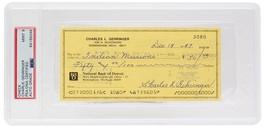 Charles Gehringer Detroit Tigers Signed Slabbed Check #3080 Mint 9 PSA/DNA - $341.54