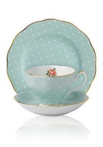 Royal Albert Polka Rose 3-Piece Set Trio Tea Cup, Saucer, Plate New In Box - $79.19