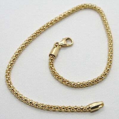 SOLID 18K YELLOW GOLD BRACELET BASKET ROUND TUBE LINK 2.2 MM WIDTH MADE IN ITALY