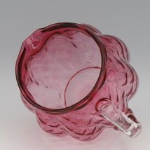 Vintage Fenton Art Glass Ruby Overlay Melon Rib Diamond Optic Pitcher 1950s image 3