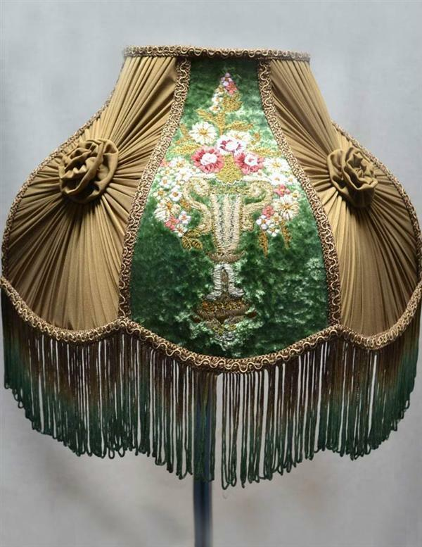 Victorian Neoclassic Embroidered Flower Lamp Shade,16''d x 14''tall.