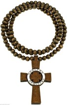 Veritas Aequitas Truth & Justice New Wood Pendant Beaded Necklace 36 Inches - $14.92