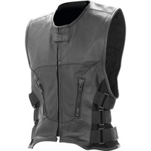 Rocky Mountain Hides Black Solid WHOLE HIDE Genuine Buffalo Leather Vest... - $44.24