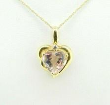 14k Yellow Gold Heart 2.39ct Genuine Natural Morganite Pendant (#J768) - $895.00