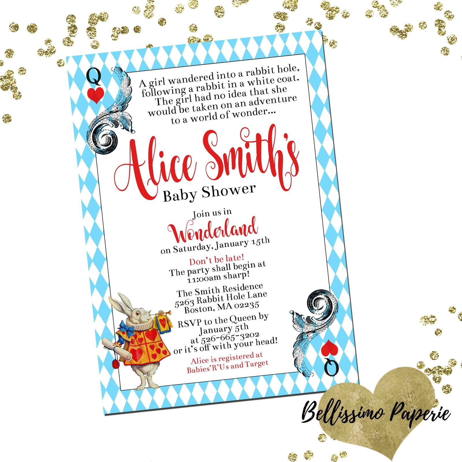 PRINTABLE Alice in Wonderland Baby Shower Invitation Custom Personalized, used for sale  USA