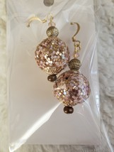 Pink and Gold Australian Crystal Drop Dangle Earrings  - $15.00