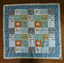 Quilted Baby Boy Blanket Quilt Fishing Theme Minky Blue Green Gray Orange MOMni - $48.37
